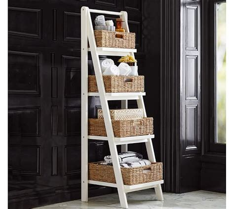 Ainsley Ladder Floor Storage With Baskets Pottery Barn Pottery Barn Bathroom Storage