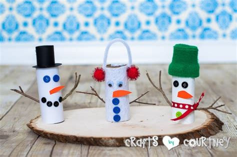 Toilet Paper Roll Snowman Craft - how to craft a toilet paper roll snowman