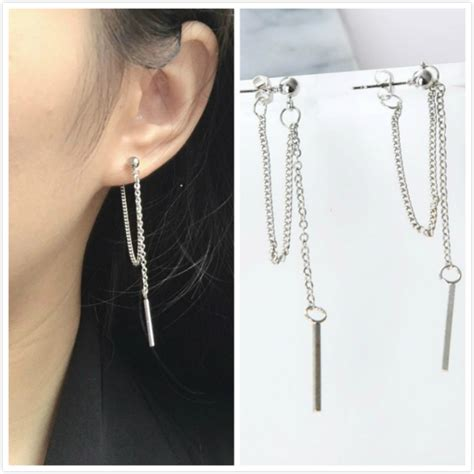 Anting Korea Earrings Simple Retro Tassel Earrings korean version of jewelry earrings tassel fashion retro earrings chain metal texture