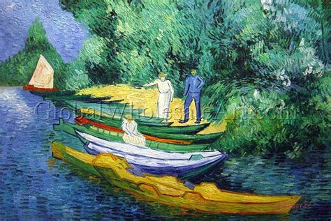 oil paintings global wholesale art vincent van gogh rowing boats on the banks of the ois