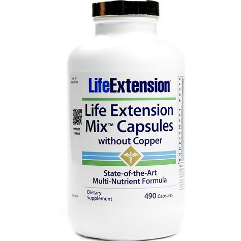 Copper Detox Supplements by Extension Mix Without Copper 490 Capsules