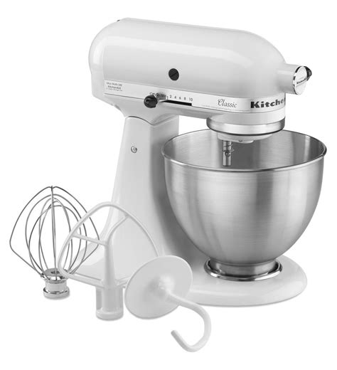 kitchenaid mixer classic series 4 5 quart tilt head stand mixer k45sswh white