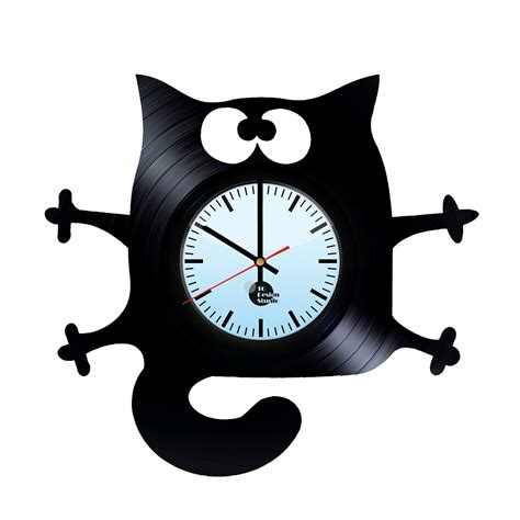 clock made of clocks cat handmade vinyl record wall clock fan gift vinyl clocks