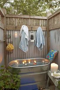 outdoor bathtub outside galvanized shower just add rain shower head
