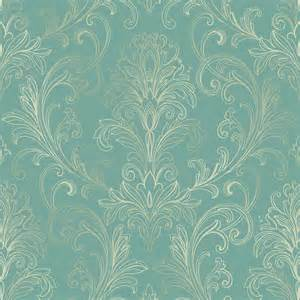 Ballard Design Lamps linear damask wallpaper turquoise pearl double rol