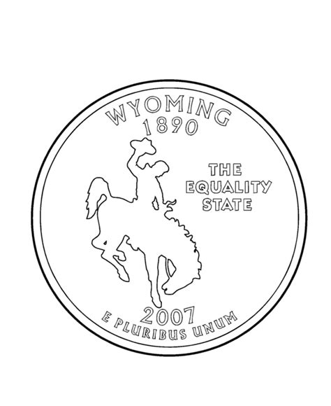 wyoming state quarter coloring page usa state quarters