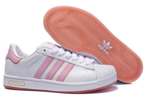 shoes pink white adidas superstar gold stripes