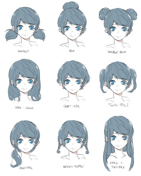 manga hairstyle short long front sides marinette hairstyles by piikoarts on deviantart