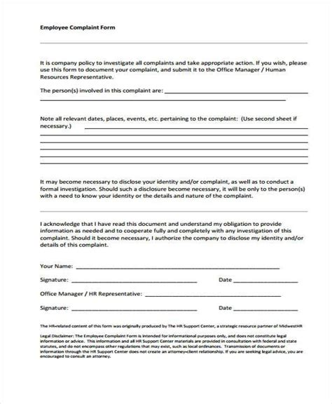 hr complaint form template 29 hr form templates