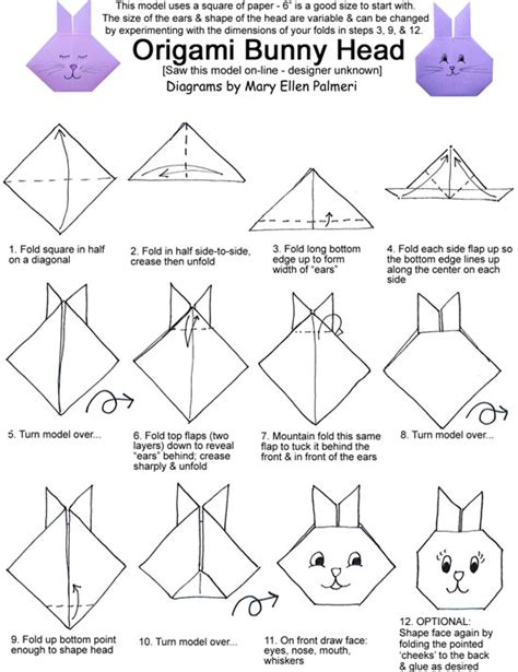 Origami For Pdf - march 2016 monthly feature origami page bunny heads