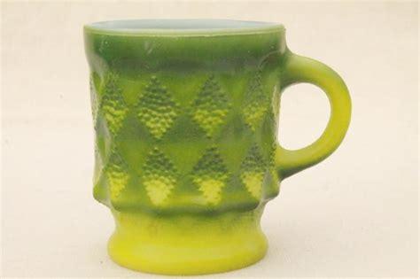 70s vintage Fire King Kimberly glass coffee mugs, retro