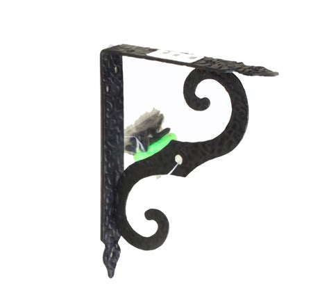 antique black steel shelf support 190x250mm mounting