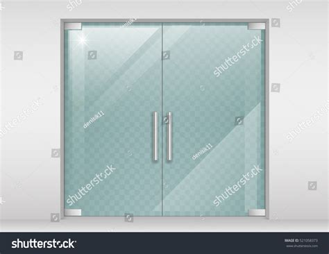 graphic design glass effect double glass doors shopping center office stock vector