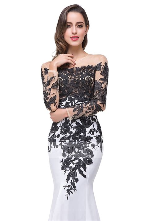 Trumpet Sleeve Dress Black White Size Sml shop discount sleeve trumpet mermaid scoop satin black and white evening dress with