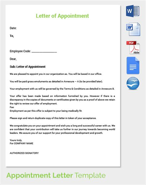 appointment letter template pin appointment letter on