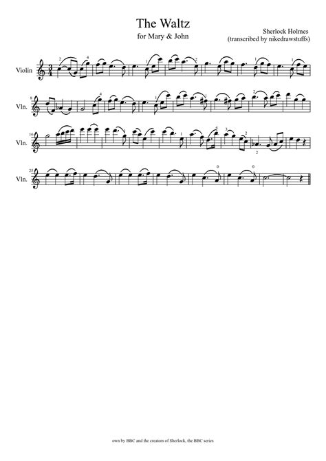 Piano Key Notes the waltz for john and mary watson violin solo musescore