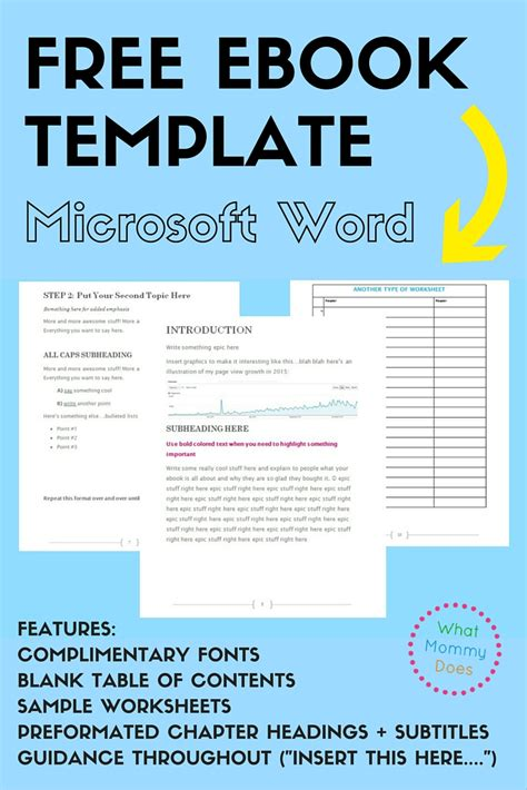 Free Ebook Template Preformatted Word Document What Mommy Does Free Microsoft Word Templates