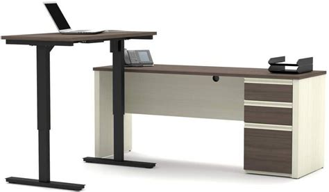 Adjustable Table L Prestige White Chocolate And Antigua L Desk With Electric Height Adjustable Table 99885 52 Bestar
