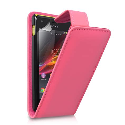 Xperia M Flip Cover Pink yousave accessories sony xperia m leather effect flip