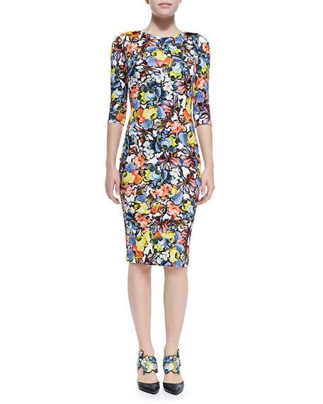 Sleeve Floral Sheath Dress erdem wilhemina 3 4 sleeve floral sheath dress