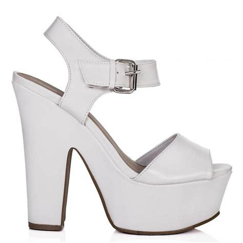 shelly block heel buckle platform sandal shoes white