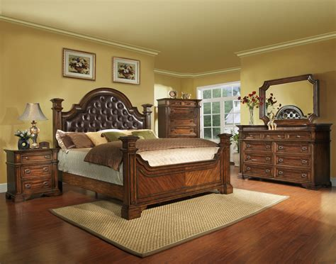 Bedroom Furniture King Size King Size Antique Brown Bedroom Set Wood Free Shipping 5 Ebay