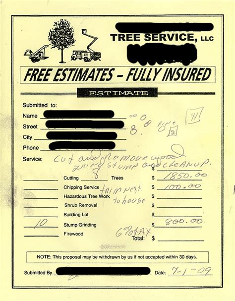 tree removal receipt template tree removal quote template image quotes at relatably