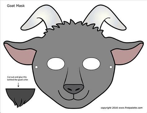 goat masks  printable templates coloring pages