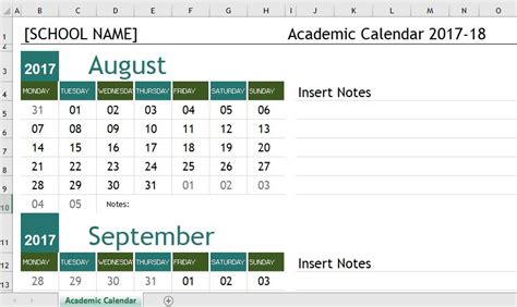 Calendar Template 2017 18 School Year Academic Calendar Templates 2017 18 For Ms Excel Word