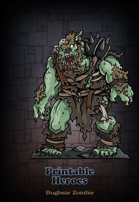 printable heroes bugbear printable heroes art preview for the bugbear zombie