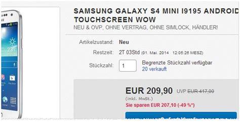 Samsung S4 Mini Preisvergleich Ohne Vertrag 9 by Samsung Galaxy S4 Mini Ohne Vertrag 169 90