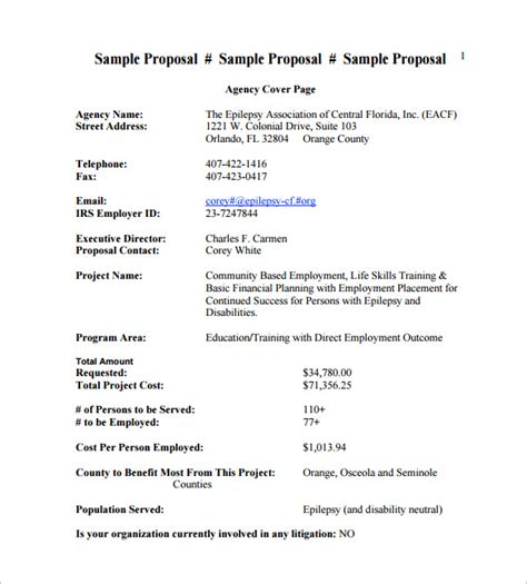 cost proposal template 17 free sle exle format