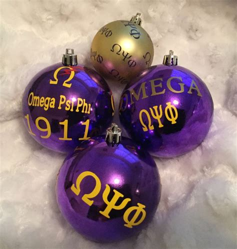 gift set of fraternity ornaments inspired by omega psi phi