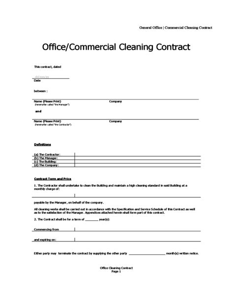 cleaning services agreement template office cleaning contract free
