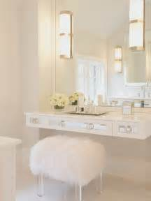 White Makeup Vanity Chair Floating Mirrored Vanity Contemporary Bathroom Susan
