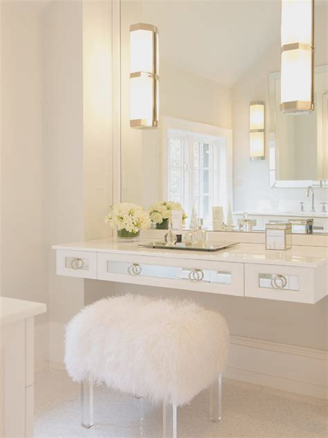 bathroom makeup table floating mirrored vanity contemporary bathroom susan