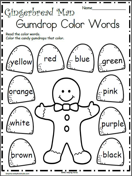 color words gingerbread color words madebyteachers