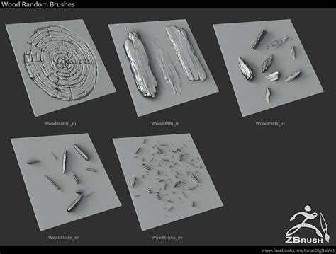 zbrush wood tutorial 20 zbrush sculpted wood brushes by jonas ronnegard