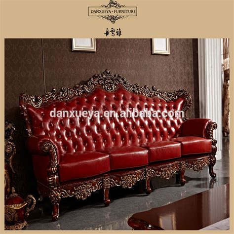 carved wood leather sofa red antique elegant french style living room luxury royal