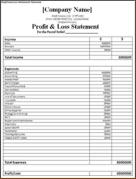 profit and loss template simple template exles