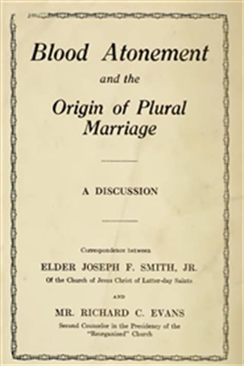 in defense of plural marriage books blood atonement and the origin of plural marriage by elder