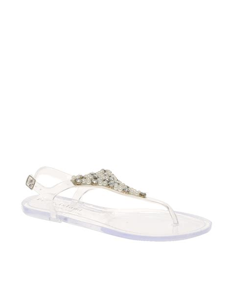 clear jelly sandals river island clear pearl and diamante jelly sandals in