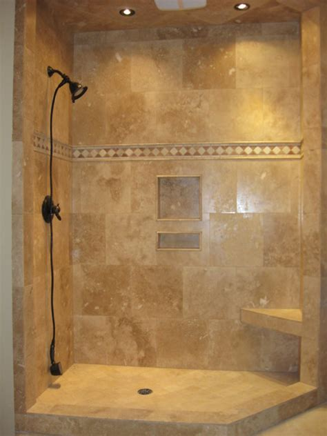 Walk In Shower Designs For Small Bathrooms by Travertine Shower