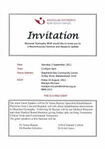 seminar invitation card template events september 2011 muscular dystrophy nsw