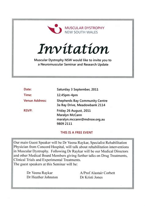 free seminar invitation templates events september 2011 muscular dystrophy nsw