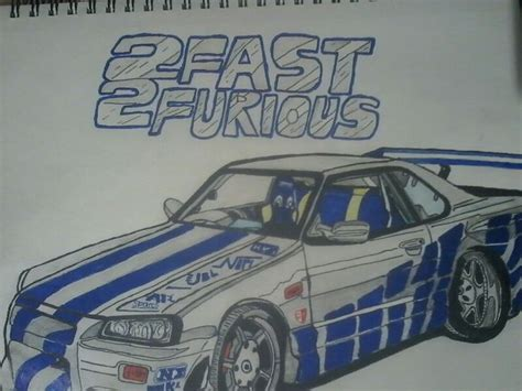 nissan skyline drawing 2 fast 2 furious nissan skyline gtr r34 from the movie 2 fast 2 furious