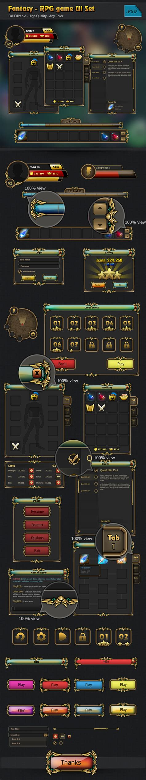design game gui rpg game gui set on behance