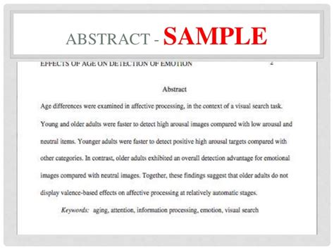 apa abstract page template apa formatting ppt