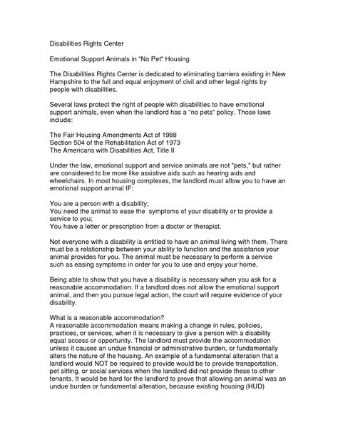 Emotional Support Animal Sle Letter To Landlord Emotional Support Letter Sle Articleezinedirectory