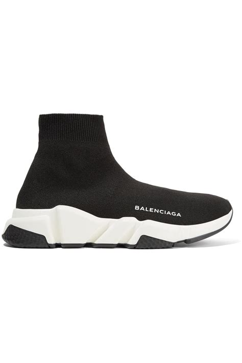 lyst balenciaga speed stretch knit high top sneakers in black